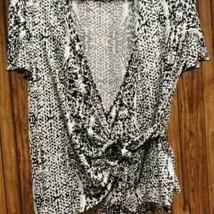 Stylish Wrap Snake Skin Patterned Blouse